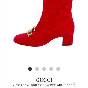 Gucci victoire GG velvet ankle boots